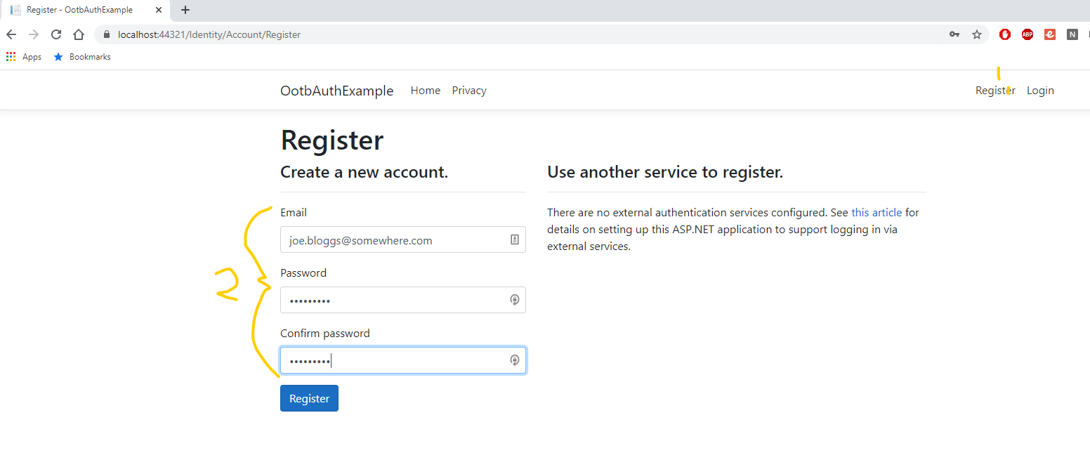 Run ASP NET Core Web App Register User