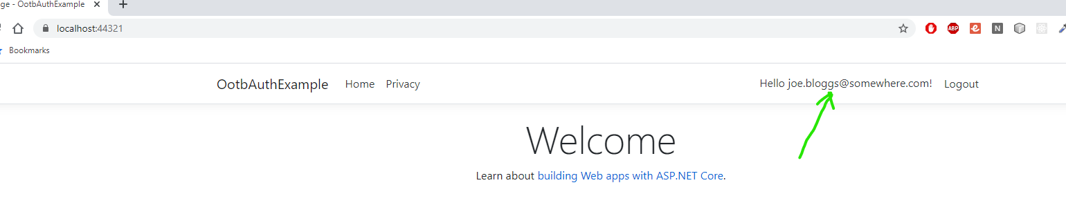 ASP NET Core Web App User Logged In