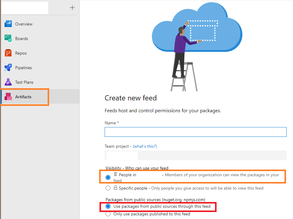 Azure DevOps - create Artifacts feed as Registry replacement