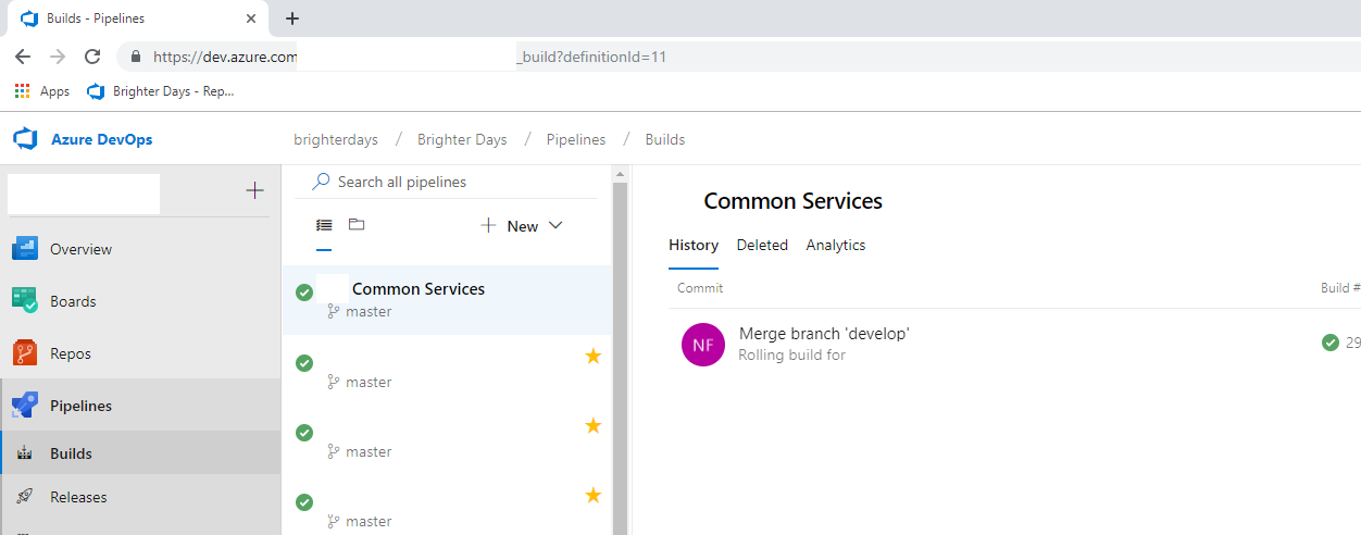 Azure DevOps Pipeline Build interface